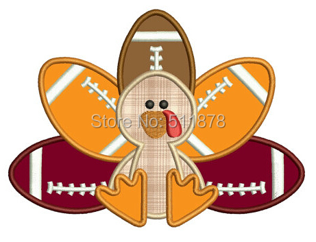 """7"""" Large Turkey Football Player Thanksgiving Applique Embroideried Uniform Cartoon Costume Cosplay Embroidered iron on patch(China (Mainland))"""