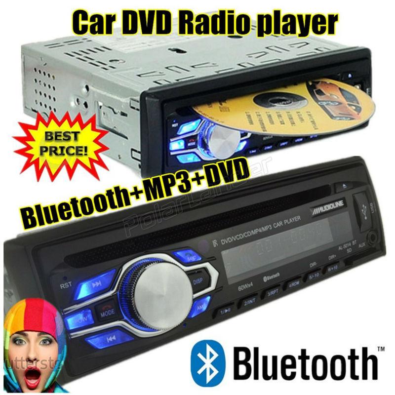 New 1 din 12V Car radio bluetooth DVD VCD CD tuner Stereo FM MP3 Audio Player Phone USB/SD MMC Port Car audio bluetooth 1 DIN(China (Mainland))