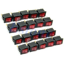 10pcs/lot AC 6A/250V 10A/125V Red Light 3 Pin ON-OFF SPST Snap in Boat Rocker Switch Free Shipping