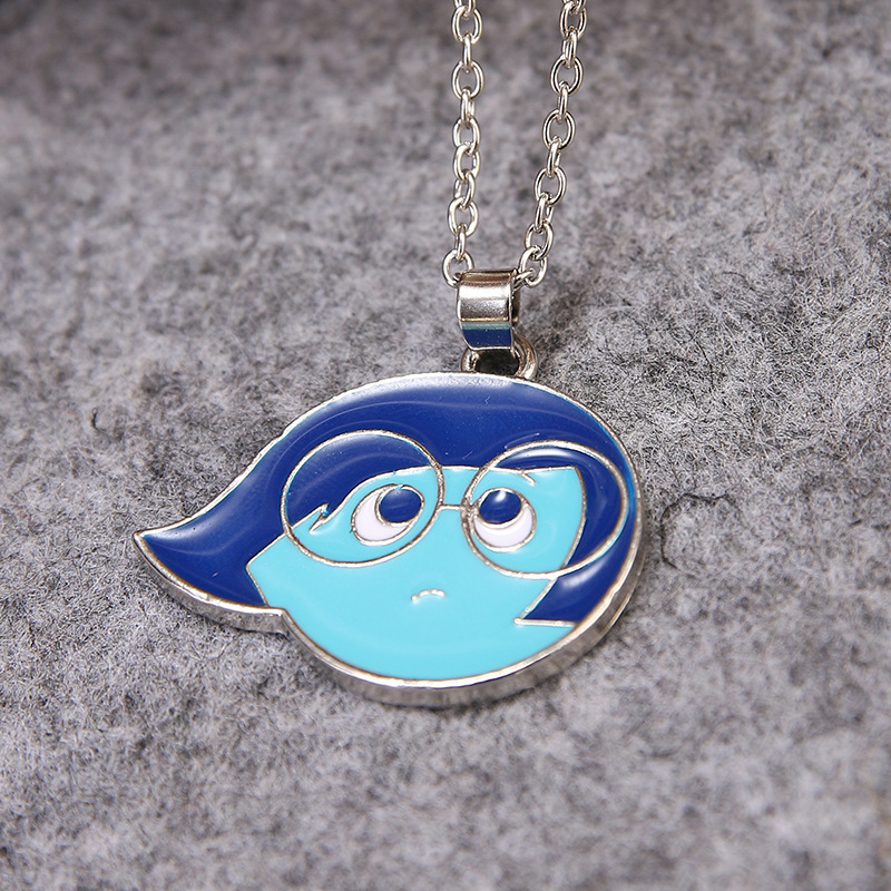 Free Shipping 3D Animation Movie Insidemat Out Alloy Blue Enamel Sadness Pendant Necklace Anger Figure Jewelry Gifts For Kids(China (Mainland))