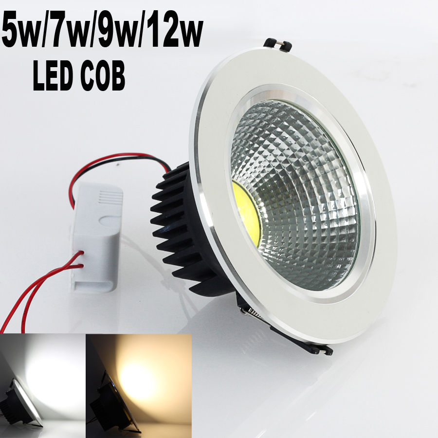2015 Newest 5W/7w/9w/12w New Very Bright LED COB chip downlight Recessed LED Ceiling light Spot Light Lamp White/ warm white(China (Mainland))