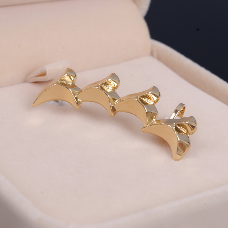 1pc charm womens earcuff jewelry gold silver plated bites shark tooth metal ear clips earrings brincos