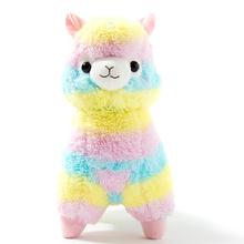 "2015 New! 1pcs 13.8"" 35cm Rainbow Alpaca Plush Toy Japanese Soft Plush Alpacasso Baby 100% Plush Stuffed Animals Alpaca Gifts(China (Mainland))"