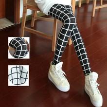 DDK007 New Sexy Fashion Womens Punk Funky Black and White Plaid Printing Leggings(China (Mainland))