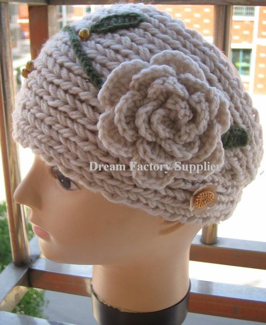 High Qualtiy,Hand made Knit Headwrap Headband Ear Warmer with Hand Crochet Flowers, Hand Crochet Leaves and Beads,Free Shipping