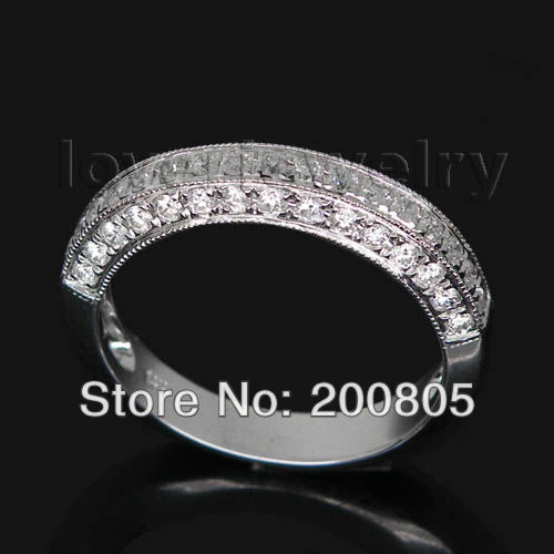 Big Saving!Vintage 14Kt White Gold 0.57Ct Natural Diamond Wedding Band Ring For Wedding Party SR344(China (Mainland))
