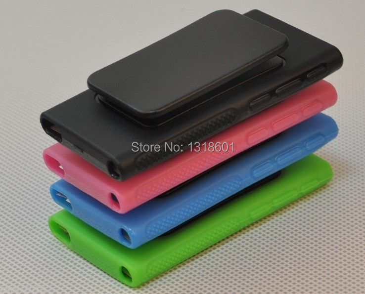 For Apple iPod Nano 7 7G 7th Belt Clip TPU Rubber Gel Soft Skin Case Cover(China (Mainland))