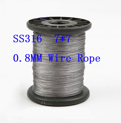 0.8mm Structure:7*7 SS316 Stainless Steel Wire Rope Hanging clothes rope Fishing rope 100 meters(China (Mainland))