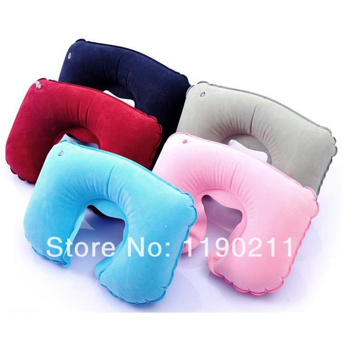 2pcs/lot Free Shipping Travel Set Inflatable Neck Air Cushion Pillow Comfortable Business Trip dVPY(China (Mainland))