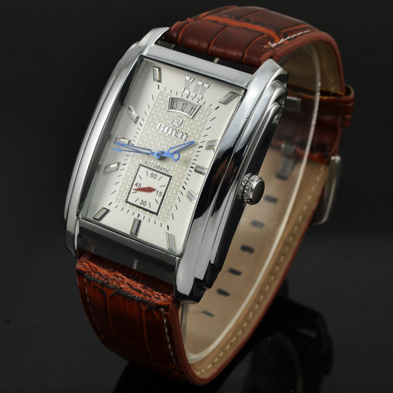 Гаджет  2015 New Items Elegant Goer Men Rectangular Case White Dial Date Brown Leather Band Business Automatic Mechanical Watch 375 None Часы