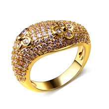 Buy Super Cute Women CZ Ring Flower Design Pave Setting AAA Cubic Zirconia Gold-color Bling Bling Cocktail Gift Lover for $10.60 in AliExpress store
