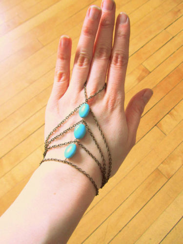 Boho Wave Chain Handchain Hand Harness Turquiose Bead Slave Finger Ring Br(China (Mainland))