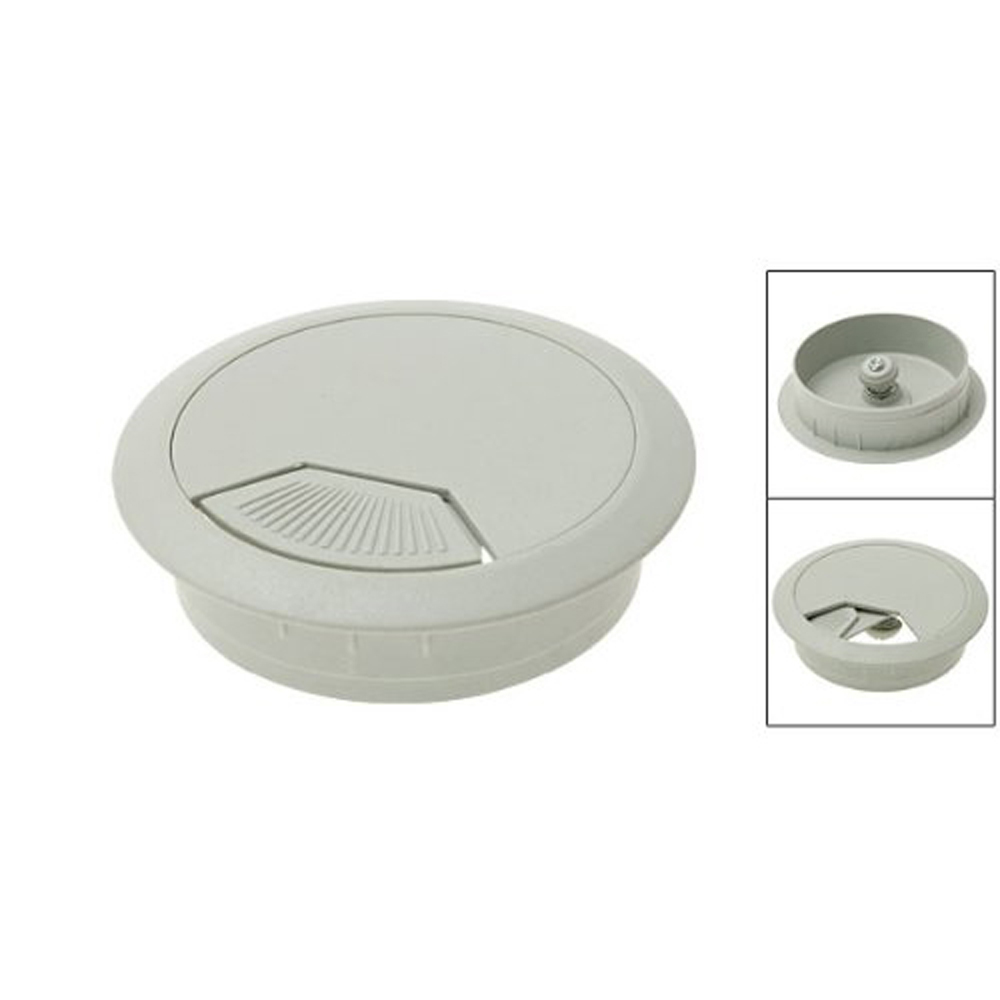 Plastic Computer Desk Grommet Cable Hole Cover - White FREE SHIPPING(China (Mainland))