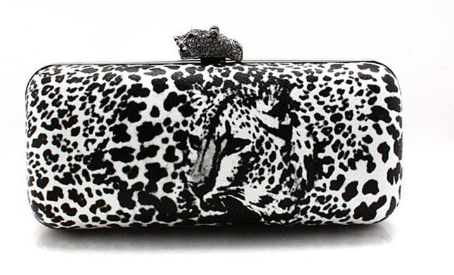 Free Shipping Punk Style Women's Leopard Clutch Bag Popular PU Clutch Handbag Evening Bag With ChainWedding Pouch 4Color 20468(China (Mainland))