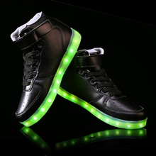 Hot Selling 2016 New arrival luminous shoes men women lovers LED lights USB charging shoes fashion casual shoe 8 colors(China (Mainland))