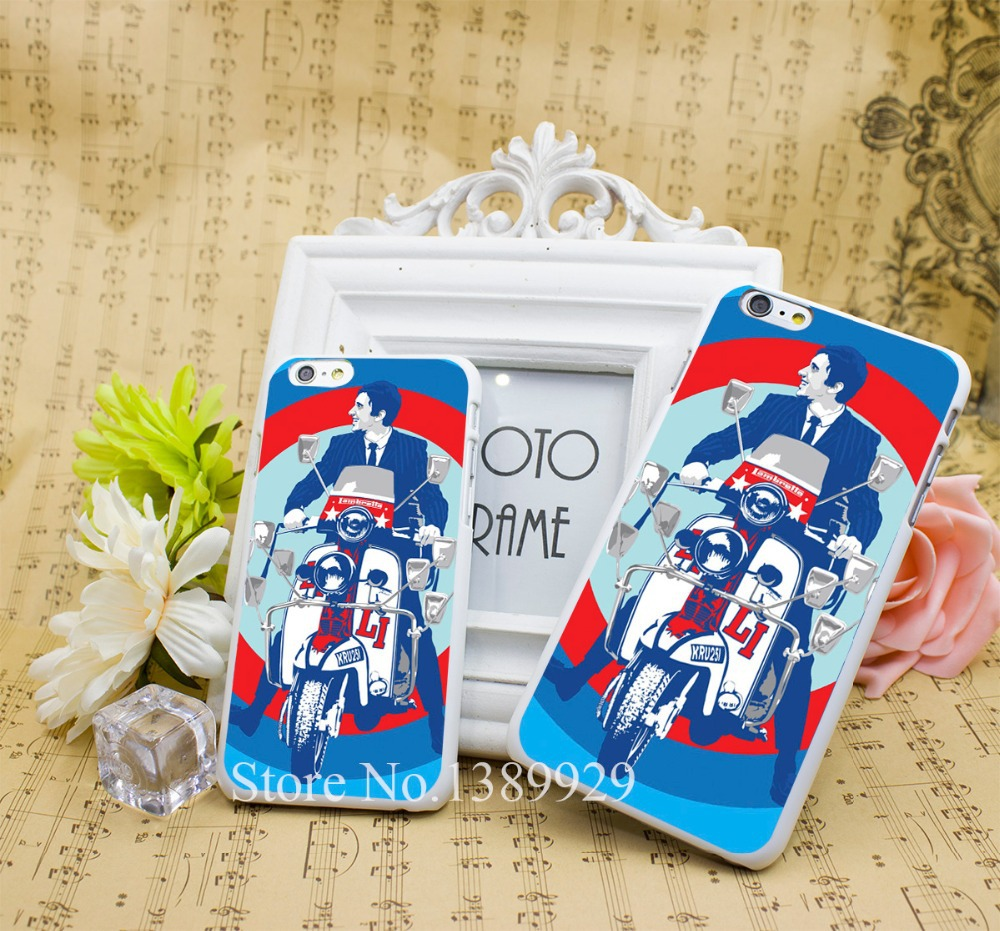 The Who English Rock Band Roger Daltrey Vespa Scooter Series Case Cover for iPhone 6 6s 6 Plus Hard White Plastic Print Back(China (Mainland))