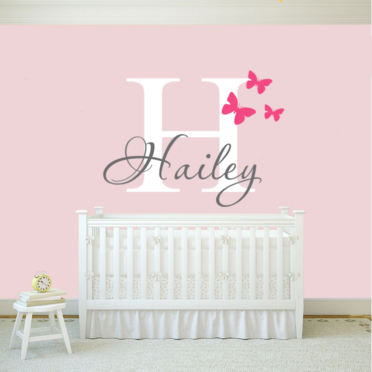 Girls Name Wall Decal Sticker Butterfly Wall Decals Stickers Personalized Name Vinyl Art Home Decoration(China (Mainland))