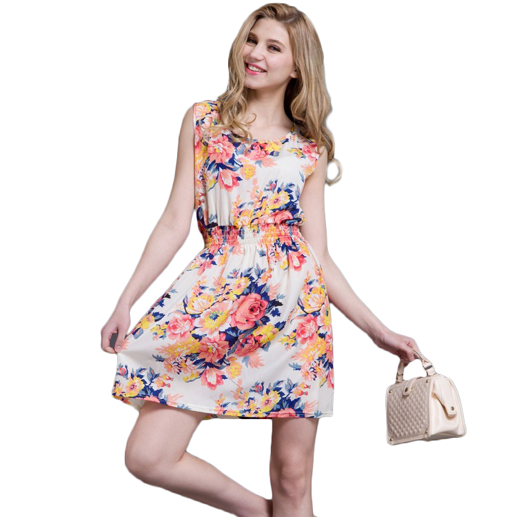 Summer Style Floral Printed Women Lolita Dress Chiffon Mini Women Dress Sleeveless Bohemian Beach Women Casual Dress [86301](China (Mainland))