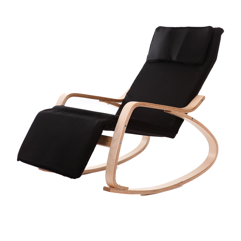 Comfortable relax wood rocking chair with foot rest design - Modern chaise lounge chairs living room ...