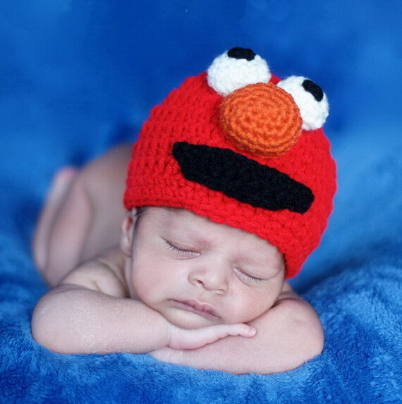 Sesame Street ELMO Crochet Knitted Hat Baby Boys Girls Cartoon Animal Beanie Newborn Infant Toddler Autumn Winter Christmas Caps(China (Mainland))