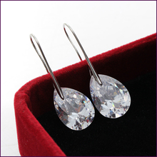 SI 2015 New Fashion Water Drop Earrings For Women Big SWA Crystal Fine Jewelry 6colors 18K