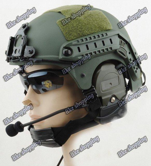 Helmet with NVG Mount N Side Rail (OD) free ship