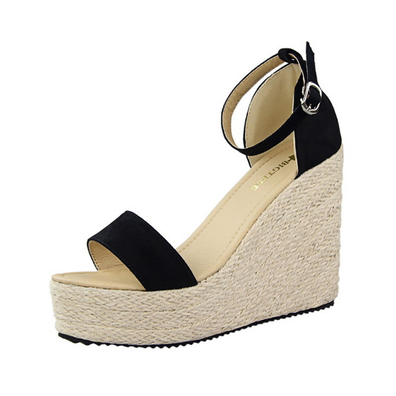 fashion quality bohemia straw wedge sandals summer