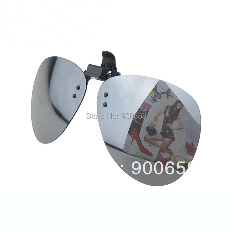 20pcs/Lot Blue/Gold/Silver Mirror Lenses Polarized Flip Up Clip On Driving Glasses UV400 SUNGLASSES 3 Colors For Eyeglass Wearer