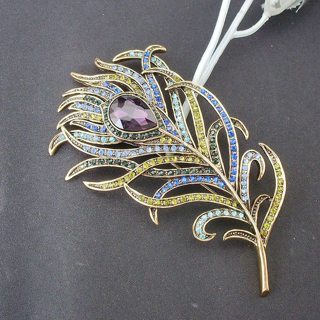 Vintage Feather Bronze Broach Antique Gold Crystal Rhinestone for Women