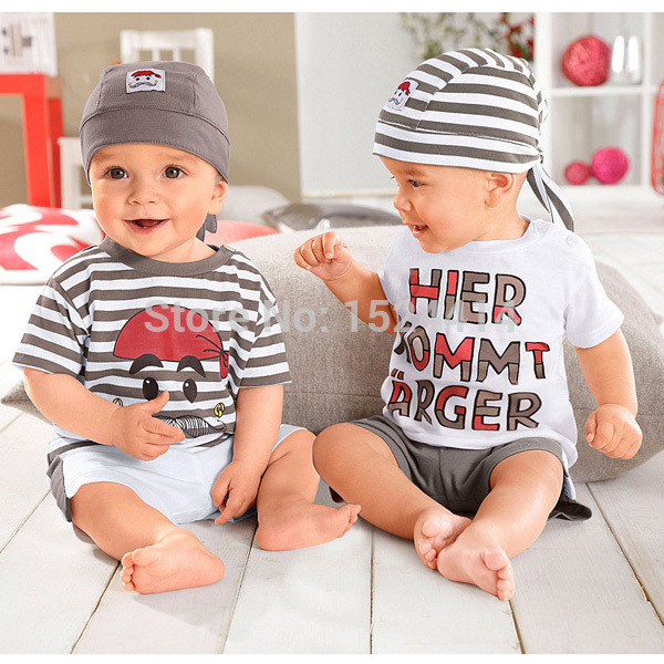 baby boy's summer cloths free shipping Kids summer set wear Short sleeve suit Children clothing suit 3 peices t-shirt+pants+hats(China (Mainland))