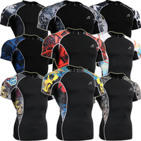 Compression T Shirts Mens Short Sleeves Weight Liftng Fitness  Base Layer Bodybuilding Tights Running Shirts Clothing
