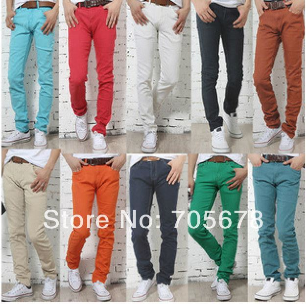 10 color fashion brand casual Slim candy denim skinny men pants/novelty men's jeans red back green navey blue orange 28-34 - Shenzhen ligo Technology Ltd store
