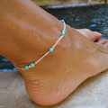 2016 New Summer Unique Turquoise Beads  sexy Silver Chain Anklet Ankle Bracelet Foot  women Jewelry