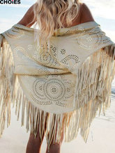 CHOIES Women Beige Faux Suede Leather Hollow Out Summer Beach Cover Up Kimono Long Fringes Tassels Thin Coat Cardigan 2015(China (Mainland))