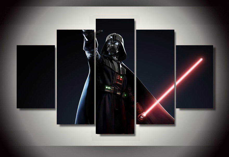 Framed Printed Star Wars Movie 5 piece picture painting wall art children's room decor poster canvas Free shipping/ny-803(China (Mainland))