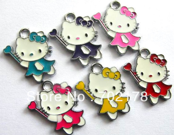 DIY charms Hang Pendant Charm 100pcs Hello kitty wearing a skirt handing a heart stick mix color Fit Diy Phone Strips key chain(China (Mainland))