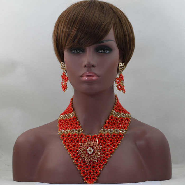 2016 Best Selling Coral Wedding African Beads Jewelry Set Dubai Gold Costume Necklace Earrings Bracelet Set Free Shipping WD247(China (Mainland))