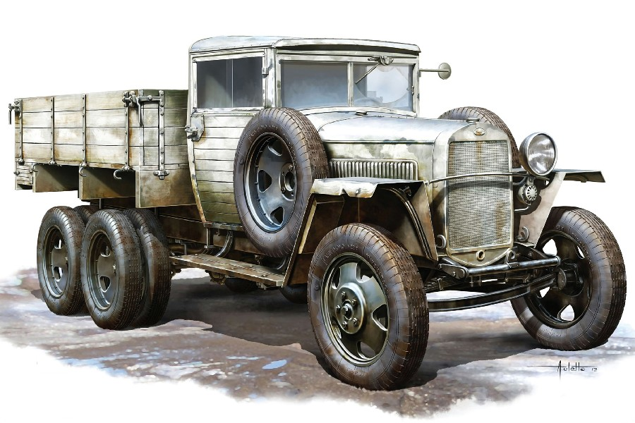 Soviet truck car GAZ-AAA Model 1943 Drawing Water Color Painting Style Fabric Silk Poster Print Picture For Home Decoration(China (Mainland))