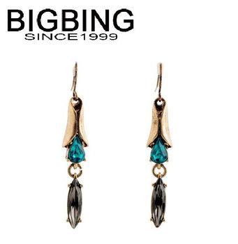Bigbing ювелирные изделия мода ретро синий кристалл женские серьги мода серьги высокое качество бесплатно никель освобождает NA363