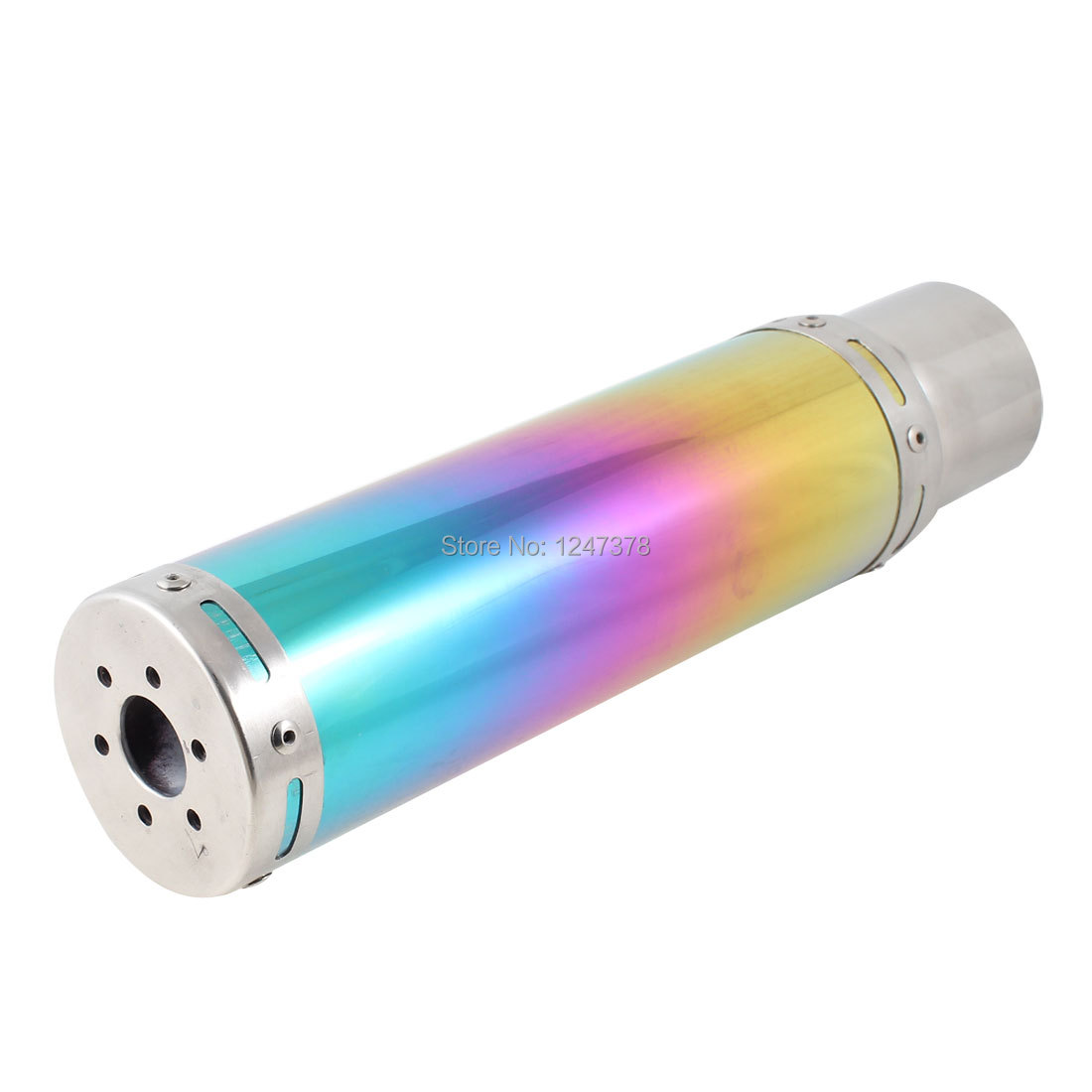 Twinkling Colorful Round Exhaust Muffler Tip Silver Tone 14.8