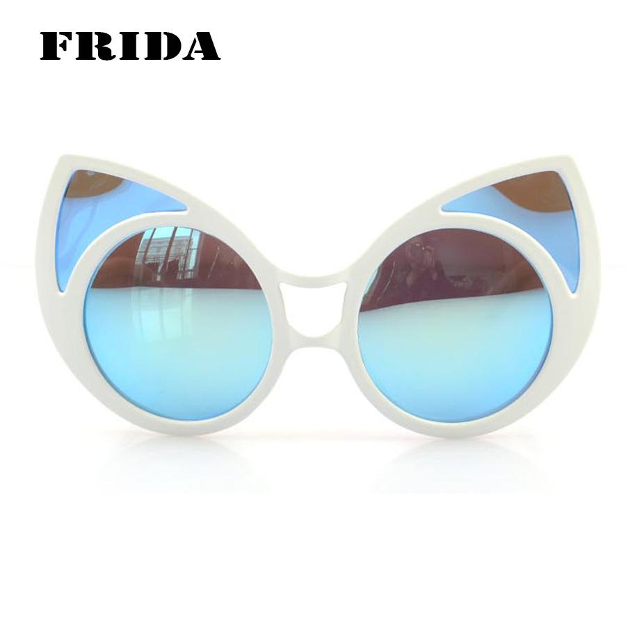 FRIDA 2016 New Women Men Brand Designer Sunglasses Statement Cat Eye Mirrored lenses shades Oversized Glasses(China (Mainland))