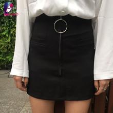 2016 Summer Black Fashion Women Skirt High Waist Vintage Ladies Solid Color Mini Short Skirts For Womens Female saias feminina
