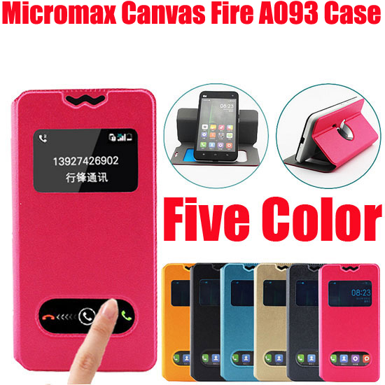 New item Fasion for Micromax Canvas Fire A093 case Leather Wallet bag Flip PU protective Case Back Cover New Arrival in stock D1(China (Mainland))