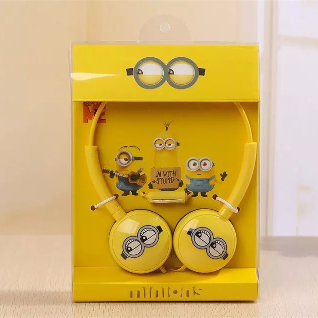 Cute Minions Headphones Big Headset with Mic for Mobile Phones Foldable Minion Me Earphones Best Christmas Gifts for Children(China (Mainland))