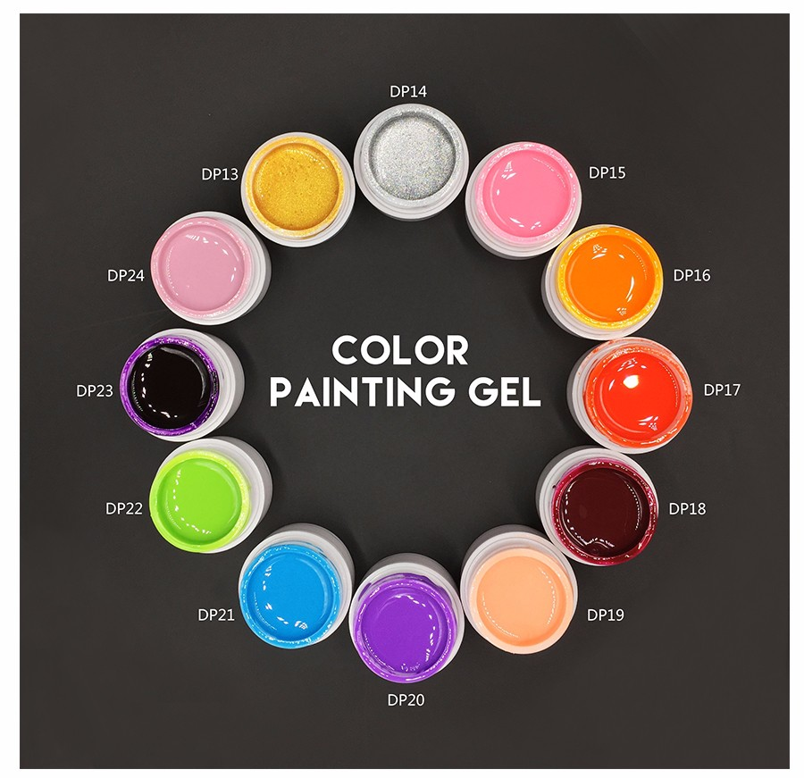 Semi Permanent Gel Ink 3D Nail Art  Drawn Painting Color Gel Vernis a Ongle Gel Glaze UV Nail Gel Polish China Nail supplier