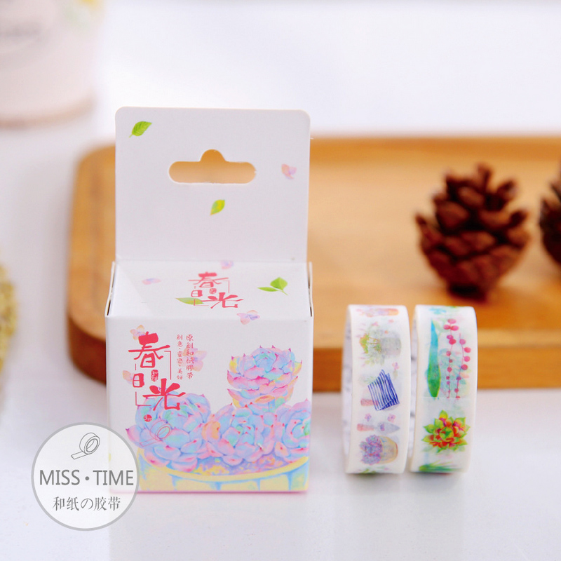 2 pcs/box Succulent Garden washi tape DIY album scrapbook decorative masking tape office adhesive tape school supplies(China (Mainland))