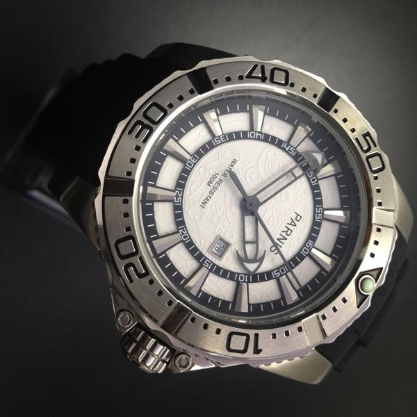 Мода 45 мм Парнис Корпус Из Нержавеющей Стали Водонепроницаемость 100 М мужская Кварцевые Часы Белый Циферблат