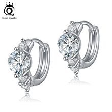 New Arrival Silver Earring Stud with 0.75ct Hearts and Arrows Cut Zircon Crystal Women Earrings Silver 2016 OE107(China (Mainland))