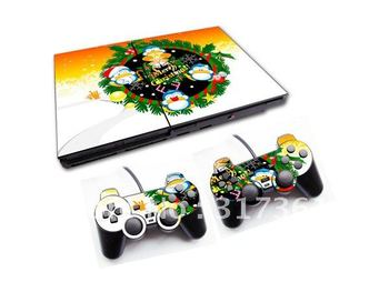 Hot!!! Vinyl Skin Sticker for PS2 console+2pcs controllers, Free shipping!