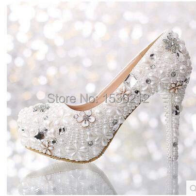 Arrylinfashion Fashion ladies beading crystal diamond studded bridal wedding party shoes white high heel floral rhinestone pumps(China (Mainland))